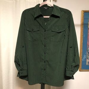 Notations Tops - Green + Black Button Down Top